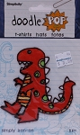 Wrights Dinosaur Dino Iron On Applique Badge Orange Appliques 4W x 3.75H inches (M211.15)