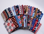 10 Fat Quarters - America USA Americana American 4th of July Stars and Stripes Patriotic Assorted Quality Quilters Cotton Fabrics M228.02