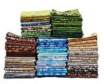 10 Fat Quarters - Landscape Quilt Nature Grass Birch Bark Water Bricks Stones Bamboo Lightning Sky Clouds Assorted Quality Quilters Cotton Fabrics M228.03