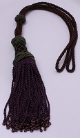 Drapery Tieback Brown Braided Cord Curtain Tie Back with Purple Tassels and Beads (M423.06)