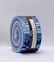 Jelly Roll - RK Mayfield Indigo Colorstory Floral Flowers RK Blue & White Fabric 2.5