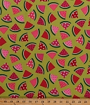 Cotton Watermelon Slices Watermelons Summer Fruits Foods Picnic Kitchen Metro Market Pink Green Cotton Fabric Print by the Yard (D12517)
