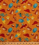 Cotton Dinosaurs Triceratops Stegosaurus Pterodactyls Tossed Dinos Nests Eggs on Orange Classic Jurassic Animals Reptiles Kids Children's Cotton Fabric Print by the Yard (87626-838w)