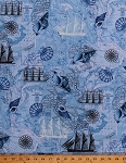 Cotton Ocean Maps Tall Ships Compass Roses Sea Harbors Cartography Seashells Full-Rigged Ship Schooner Nautical Naval Blue Cotton Fabric Print by the Yard (sea-C1735-Blue)