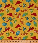 Cotton Dinosaurs Triceratops Stegosaurus Pterodactyls Tossed Dinos Nests Eggs on Yellow Classic Jurassic Animals Reptiles Kids Children's Cotton Fabric Print by the Yard (87626-538w)