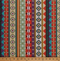 Cotton Southwestern Stripes Designs Triangles Tribal Native American Aztec Southwest Native Sun Cotton Fabric Print by the Yard (35243-12)