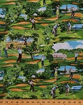 Cotton Golf Course Golfers Golfing Sports Putting Scenic Landscape Flags Bunker Green Cotton Fabric Print by the Yard (Sport-C1583-Golf)