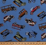 Cotton Vintage Ford Cars Antique Automobiles Vehicles Transportation Blue Cotton Fabric Print by the Yard (auto-c9906)