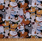 Cotton Dogs Wearing Glasses Hats Bandanas Cartoon Animals In the Dog House Kids Children's Funny Canine Cotton Fabric Print by the Yard (05879-12)
