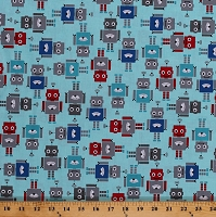 Cotton Robots on Blue Robotics Kids Funbots Cotton Fabric Print by the Yard (AAK-13961-203CELEBRATION)