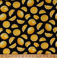 Cotton Lemons Lemon Slices Wedges Yellow Citrus Fruits Food Summer Black Cotton Fabric Print by the Yard (GM-C1845-BLACK)
