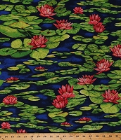 Cotton Water Lilies Lily Pads Lotus Flowers Nature Pond Floral Dark Blue Cotton Fabric Print by the Yard (Y1157-31DARKBLUE)