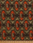 Cotton African Designs Ovals Circles Diamonds Shapes Geometric Chains Spots Tribal Africa Handprint-Look Green Orange Cotton Fabric Print by the Yard (6250L-12K-green)
