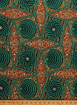 Cotton African Designs Tribal Geometric Tessellations Shapes Squares Blocks Circles Diamonds Dots Swirls Handprint-Look Africa Turquoise Orange Cotton Fabric Print by the Yard (6250L-12K-Turquoise)