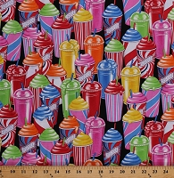 Cotton Slushees Slushies Slush Summer Drinks Food Brain Freeze Black Cotton Fabric Print by the Yard (05691-99)