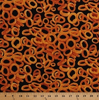 Cotton Onion Rings Appetizers Fried Food on Black Cotton Fabric Print by the Yard (FOOD-1609-onrings)