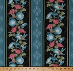 Cotton Hummingbirds Birds Flowers Petunias Floral Stripe (4 Parallel Stripes) Glorious Hummingbirds Blue Black Cotton Fabric Print by the Yard (00610-12)
