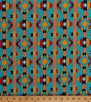 Cotton Southwestern Stripes Blue Red Gold Southwest Native American Tribal Aztec Hopi Trail Cotton Fabric Print by the Yard (40118-2)