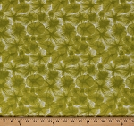 Cotton Ty Pennington Water Flower Floral Cotton Fabric Print by the Yard TY-09 Chartreuse