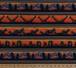 Cotton African Animals Giraffes Zebras Elephants Lions Wildcats Africa Wildlife Nature Safari Stripe Parallel Stripes Serengeti Rust and Brown Cotton Fabric Print by the Yard (fp6494-591)