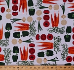 Cotton Vegetables Carrots Green Peppers Tomatoes Onions Food Garden Gardening Metro Market Fresh Veggies on White Kitchen Country Cotton Fabric Print by the Yard (12516)