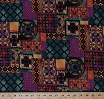 Cotton Moonlit Garden Patches Squares Rectangles Patchwork Design Flowers Quatrefoil Morocco African Cotton Fabric Print by the Yard (K4127)