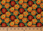 Cotton Daisies Gold Red Daisy Flowers Floral Mums Small Wonders Sunset Garden Cotton Fabric Print by the Yard (D615-151SUNSET)