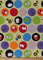 Cotton Farm Animals Tractors Barns Sheep Pigs Cows Circles on Green Farm Friends Kids Cotton Fabric Print by the Yard (Y0872-23LIGHTOLIVE)