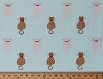 Cotton Cats Allover Kitties Animals Pets Tan Kittens on Aqua Meow Cotton Fabric Print by the Yard (833-017)