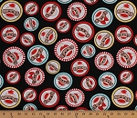 Cotton Sock Monkeys Circles Frames Stuffed Animals Toys on Black Socky Kids Cotton Fabric Print by the Yard (35372)