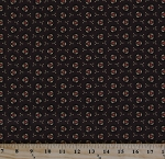 Cotton Jo Morton Isabella Circles Jacks on Dark Brown Civil War Reproduction Cotton Fabric Print by the Yard (7942)
