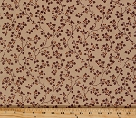 Cotton Jo Morton Charleston Purple Branches and Berries on Beige Botanical Civil War Reproduction Cotton Fabric Print by the Yard (7473-OL)