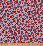 21 Wale Corduroy Cool Cords Fox Foxes Cute Animals Red Purple Blue Fabric By the Yard (AAK-14797-63-SKY)