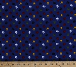 Finewale Corduroy Multi Paws Paw Prints on Blue Fabric By the Yard (9630T-11M)