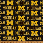 CottonBlend Twill University of Michigan Wolverines Twill Fabric Print by the Yard (MCHG-250)