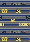 Fleece University of Michigan Wolverines Polo Stripe Grey College Fleece Fabric Print by the Yard