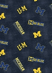 Flannel University of Michigan™ Wolverines™ Flannel Fabric Print by the Yard