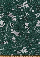EZ Spun Knit Michigan State Spartans Jersey Knit Green White College Knit Fabric By the Yard (MIST-1112)