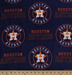 Fleece (not for masks) Houston Astros MLB Baseball Fleece Fabric Print by the Yard