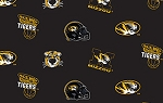 Fleece University of Missouri Tigers Mizzou College Fleece Fabric Print by the yard