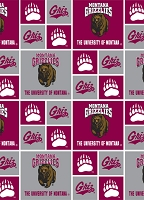Cotton University of Montana Grizzlies Grizz College Cotton Fabric Print by the Yare (mont020)