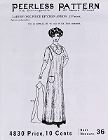 Past Pattern #4830 Apron Women's Ladies' One-Piece Kitchen Apron Circa 1900s Sewing Pattern (pastpattern4830)
