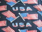 Fleece Patriotic Navy Blue USA United States of America American Flags Red White and Blue Stars and Stripes Fourth of July Fleece Fabric Print by the Yard opf0883r