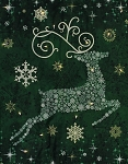 Starry Night Christmas Reindeer Prance Holiday Quilt Wall-Hanging Panel Fabric Kit - Evergreen Green - Sold by the Kit