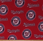 Fleece (not for masks) Washington Nationals Red MLB Baseball Fleece Fabric Print by the yard (s14549bf)