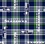 Fleece Seattle Seahawks Plaid NFL Football Fleece Fabric Print by the Yard (s6440df)
