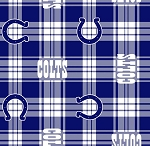 Fleece Indianapolis Colts Plaid NFL Football Fleece Fabric Print by the Yard (s6441df)