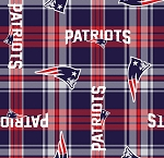 Fleece New England Patriots Plaid NFL Football Fleece Fabric Print by the Yard (s6464df)