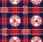Fleece Boston Red Sox Plaid MLB Baseball Fleece Fabric Print by the Yard (s6602bf)