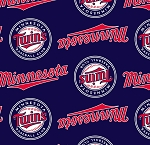 Fleece (not for masks) Minnesota Twins Navy MLB Baseball Fleece Fabric Print by the Yard